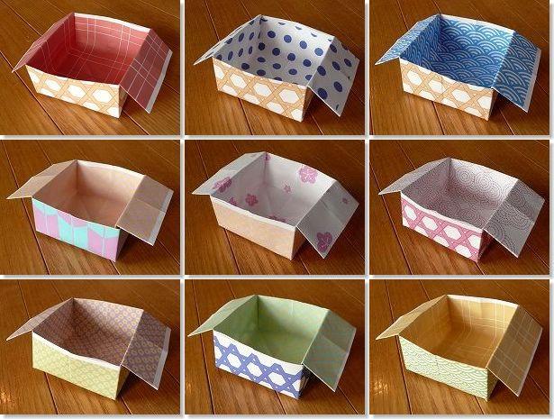 折り紙】箱の作り方・折り方 : 紙 入れ物 折り方 : 折り方