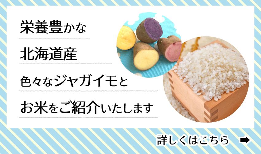栄養豊かな北海道産の色々なじゃがいもとお米をご紹介いたします。