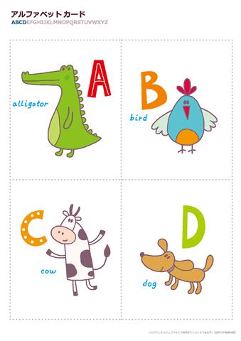 アルファベットカード かわいい動物イラスト 幼児教材 知育