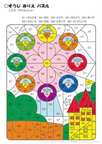 ぬりえ 数字パズル幼児教材知育プリントちびむすドリル幼児
