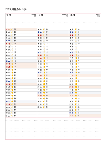 の カレンダー 月 満ち欠け