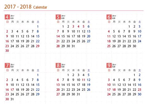 2017年20182019年 年間カレンダー 1月4月始まり