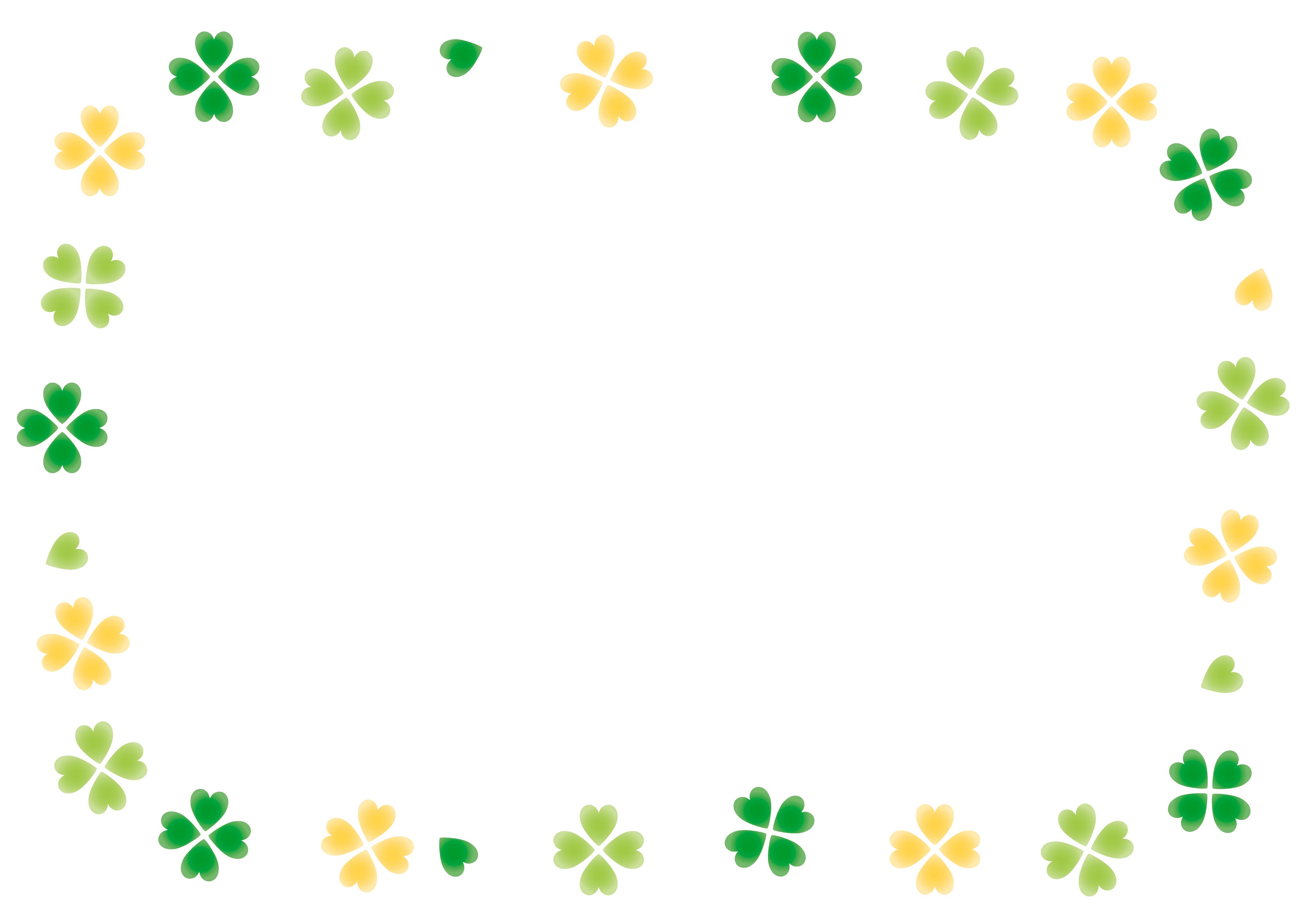 メッセージカード枠(png画像)クローバー ,6