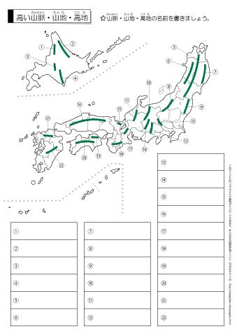 日本の高い山脈・山地 テスト