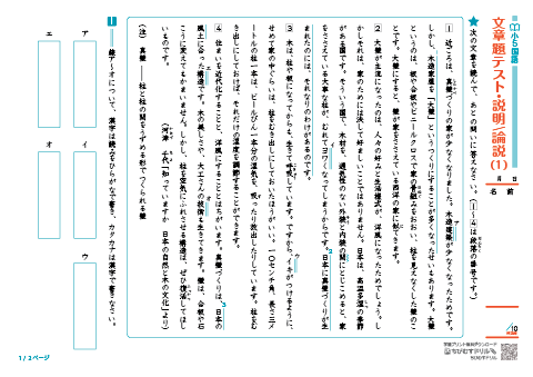 小学5年生 国語 文章問題読解プリント 説明文論説