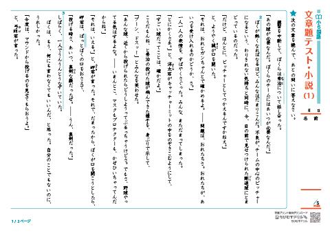 小学6年生 国語 文章問題・読解...