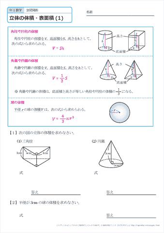 空間 図形 公式 平面図形 公式集 a b =長さ h=高さ