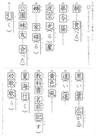 小学2年生 漢字テストちびむすドリル小学生