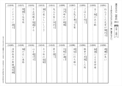 漢字 【読み】 テスト(61)~(85) / 中学・高校の漢字 1130字 無料ダウンロード・印刷
