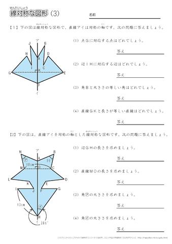 算数 5年生算数 体積 : 線対称な図形 問題プリント ...
