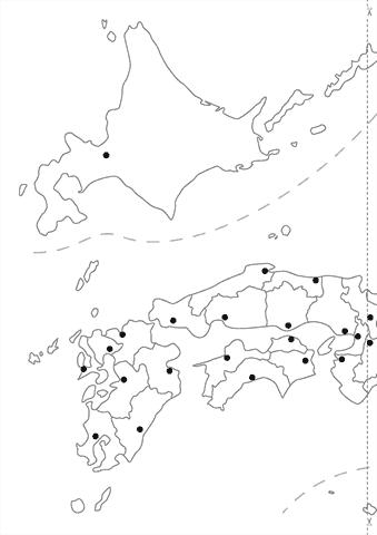 白地図(都道府県と県庁所在地 ...