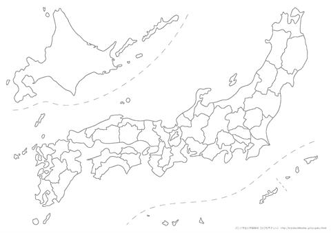 白地図(日本地図) 都道府県名なし A4