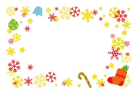 クリスマスカードブーツと雪の結晶 無料ダウンロード幼児教材