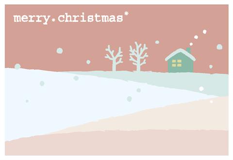 クリスマスカード雪景色 無料ダウンロード幼児教材知育
